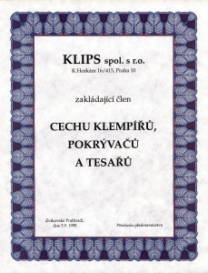 Klips s.r.o. – zakládající člen Cechu klempířů, pokrývačů a tesařů