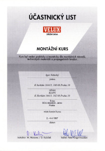 Velux montážní kurz 1994